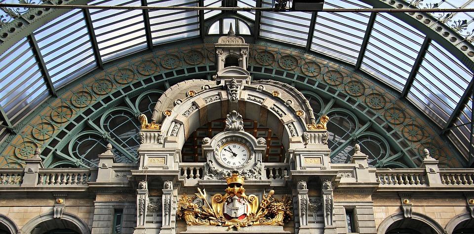 architecture, concourse, clock