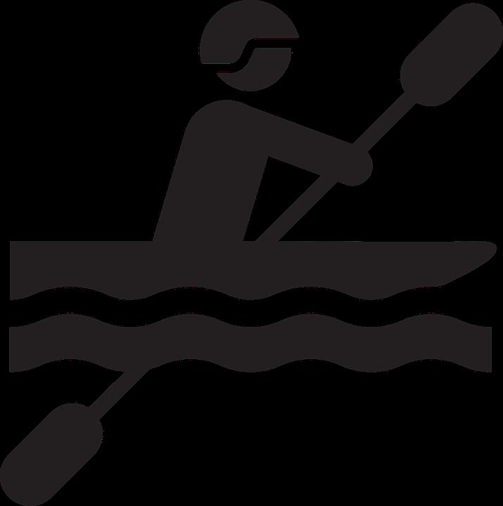 water, kayak, pictogram