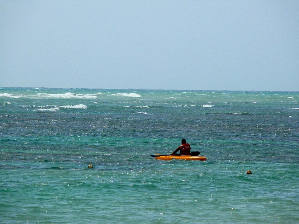 man, kayak, sea