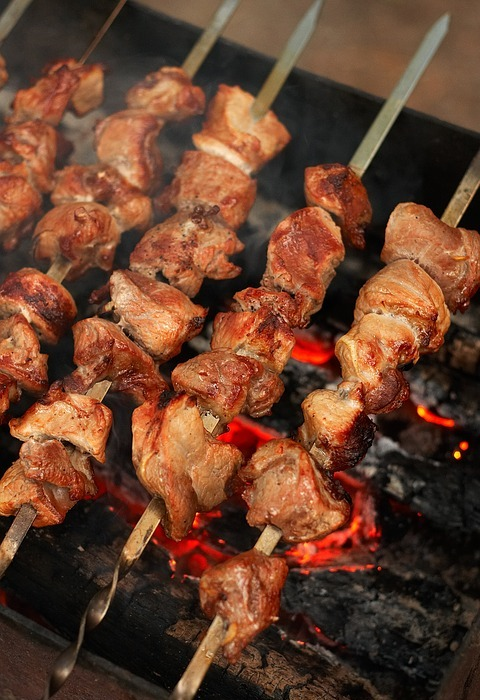 food, picnic, shish kebab