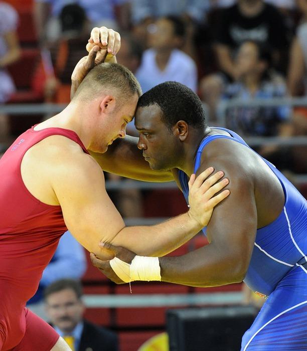 wrestling, athletes, match