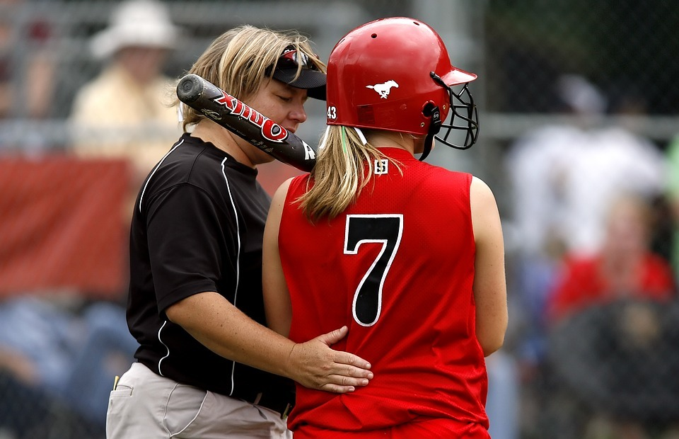 softball, player, coach