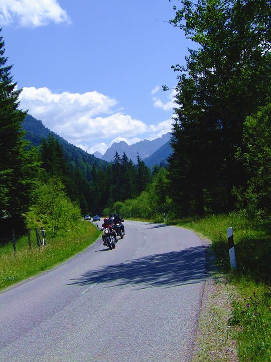 bavaria, mountains, motorcycles