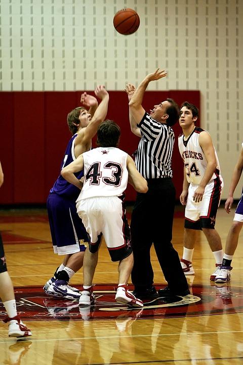 basketball, jump ball, game