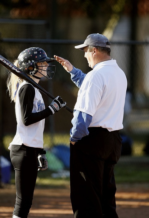 softball, coach, coaching