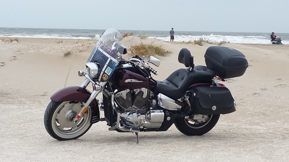 motorcycle, beach, cruiser