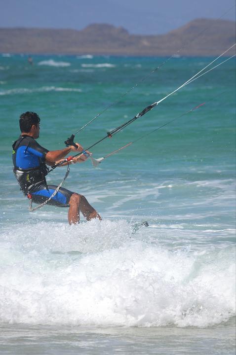 kite surfing, sports, man