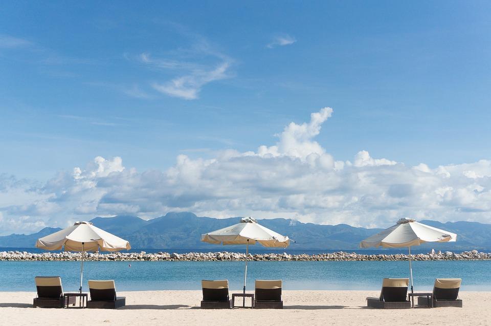 beach chairs, umbrellas, beach