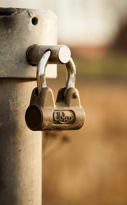 lock, metal, brown