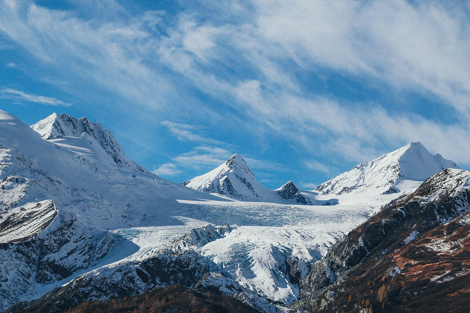 snowy mountains, mountains, landscape