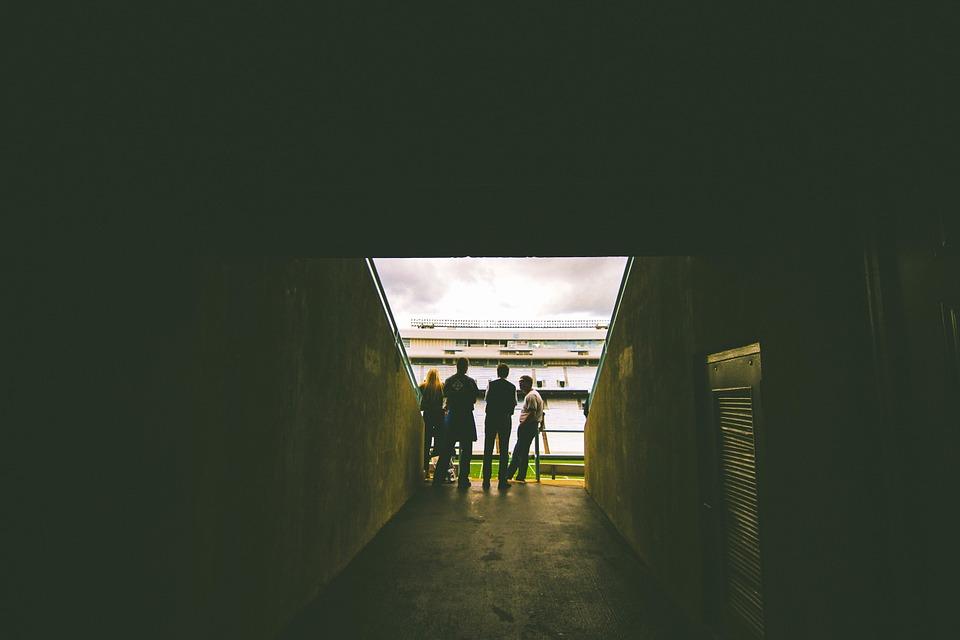 football, field, tunnel