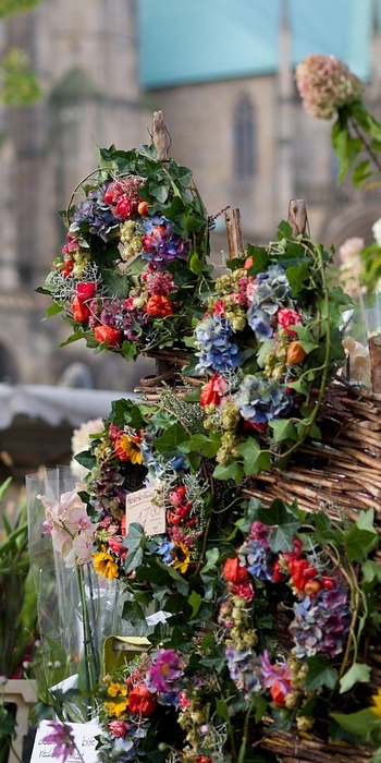 thanksgiving, wreath, flowers