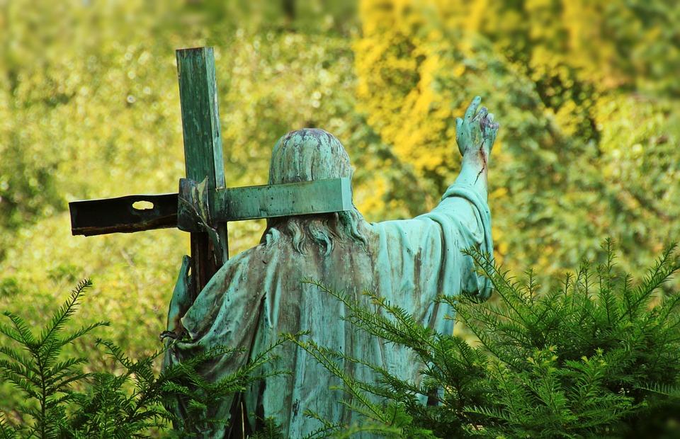 cemetery, tomb, jesus statue