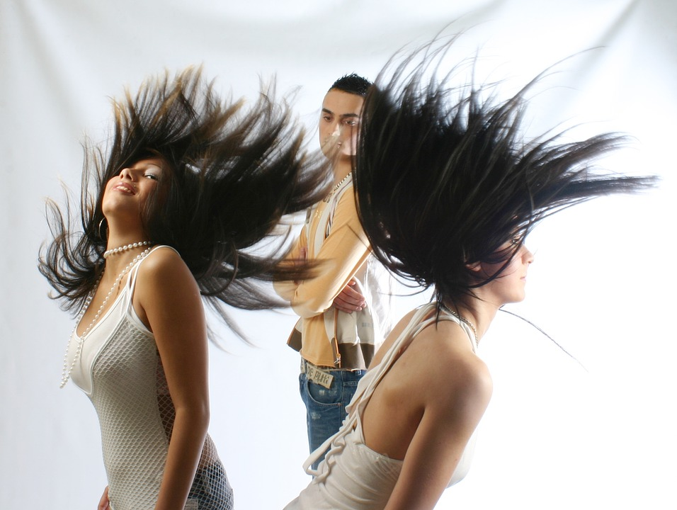 woman, hair, dress