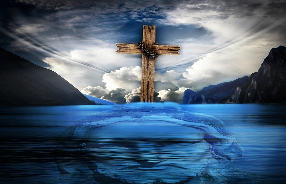 jesus, cross, water