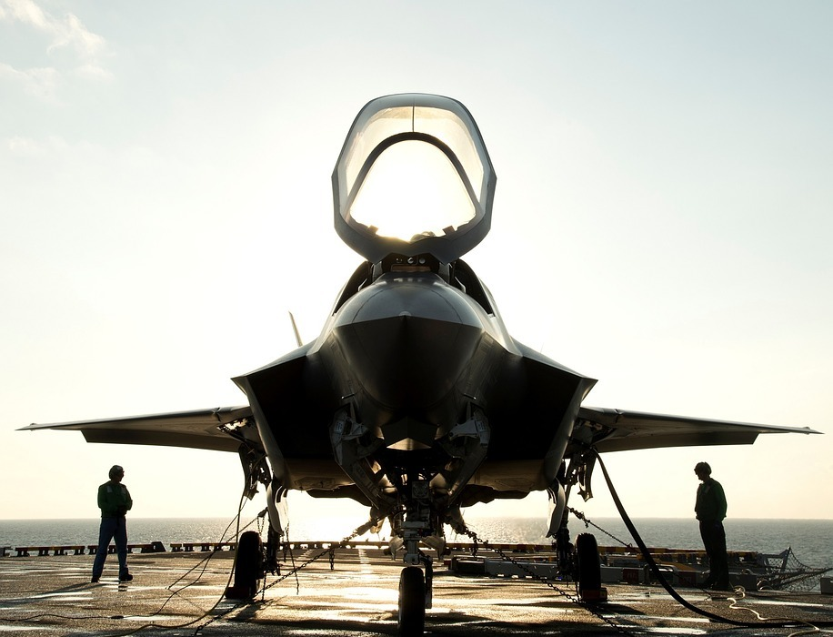 military jet, secured, silhouettes