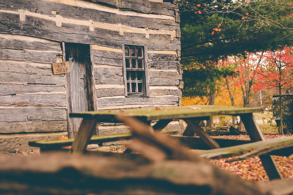 picnic table, cottage, cabin