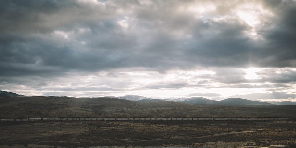 landscape, train, storm