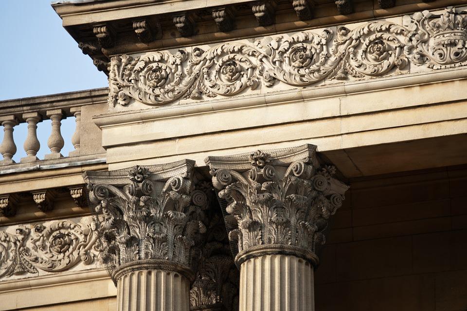 corinthian columns, entablature, balusters