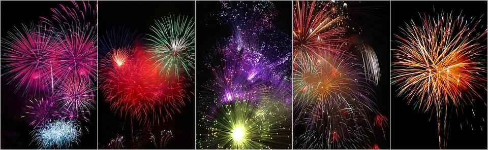 firework collage, collage, fireworks