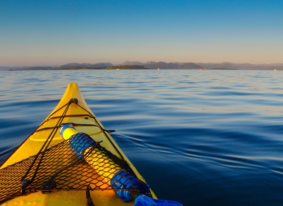 kayak, water, blue