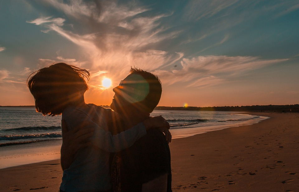 happy people, beach galicia, backlight