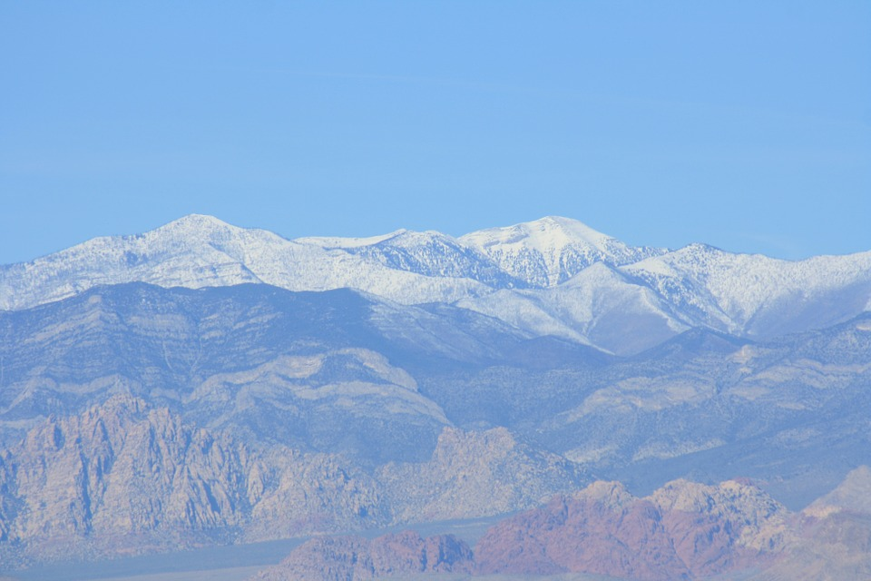 snowy, mountain, red rock