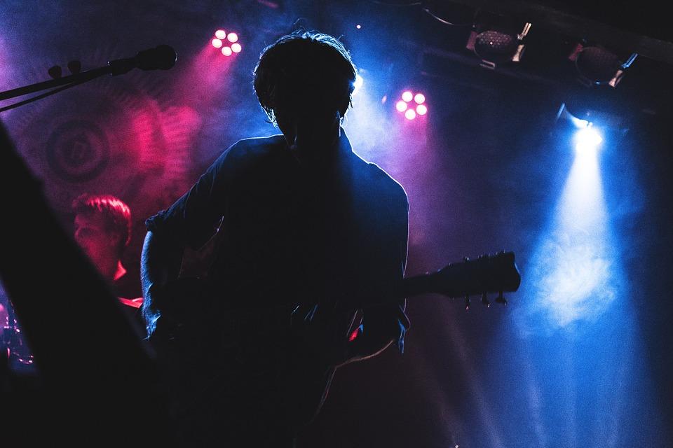concert, colors, guitarist