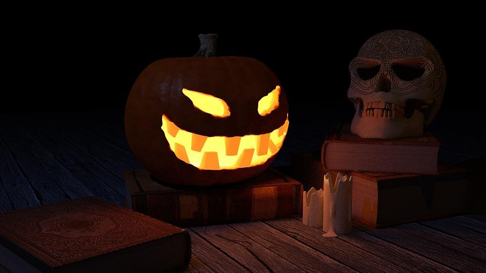 pumpkin, halloween, skull