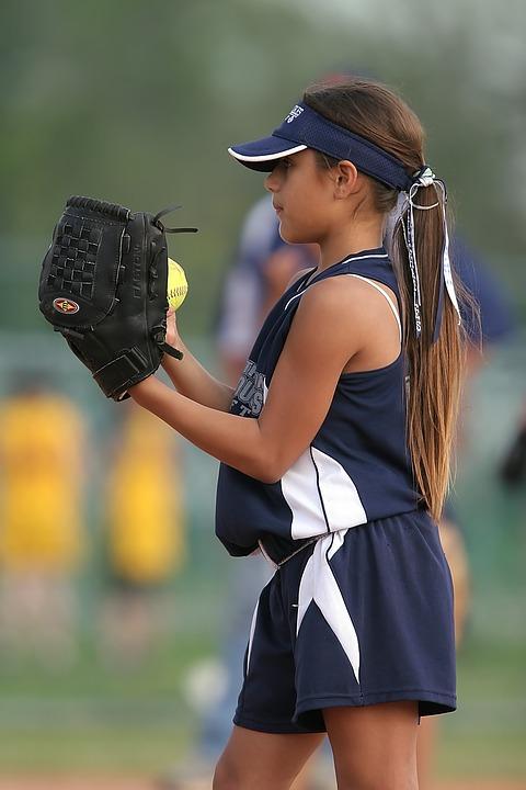 softball, player, pitcher