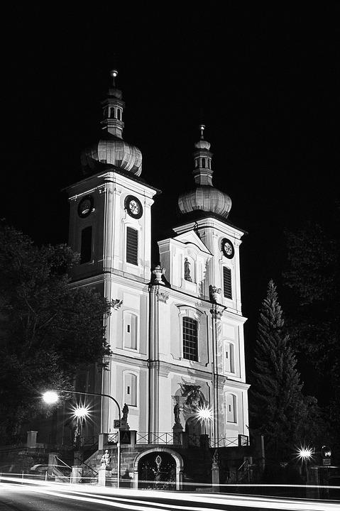 church, catholic, night