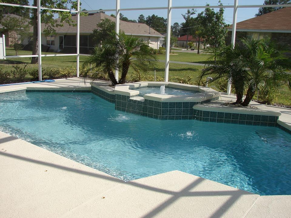 spa, pool, deck
