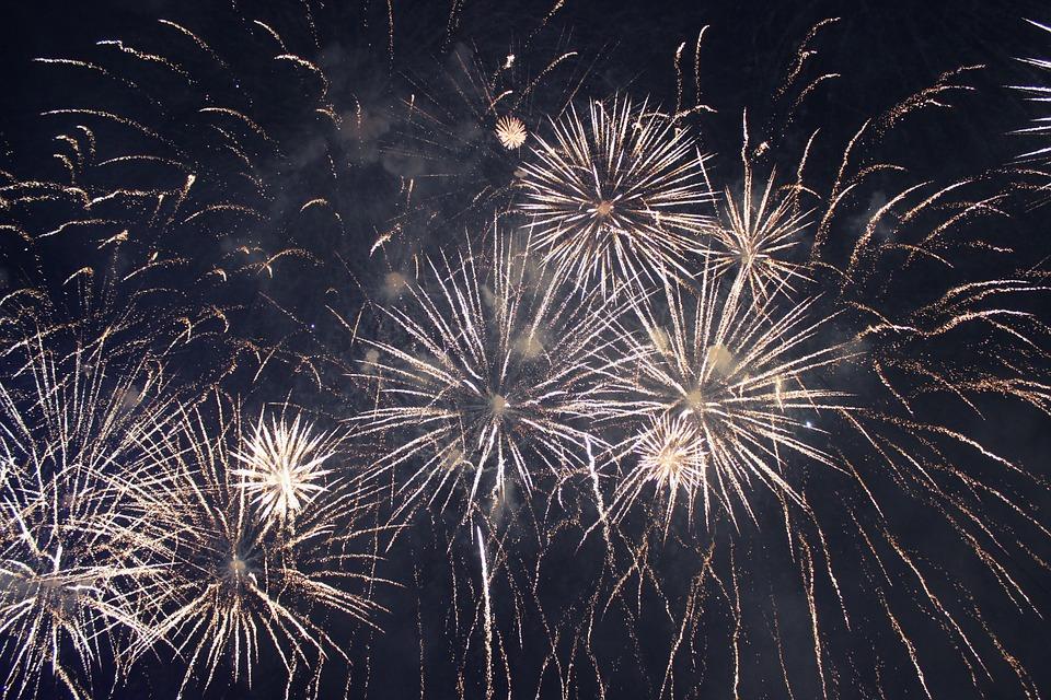 fireworks, golden fireworks, sky