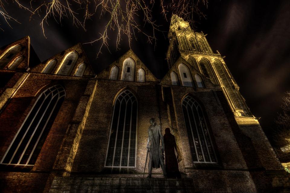 church, hdr, light