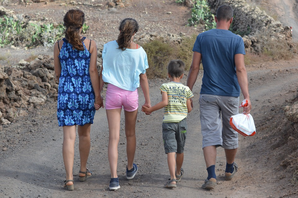 family, people, hiking