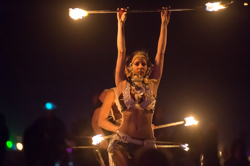 fire dancer, fire, woman