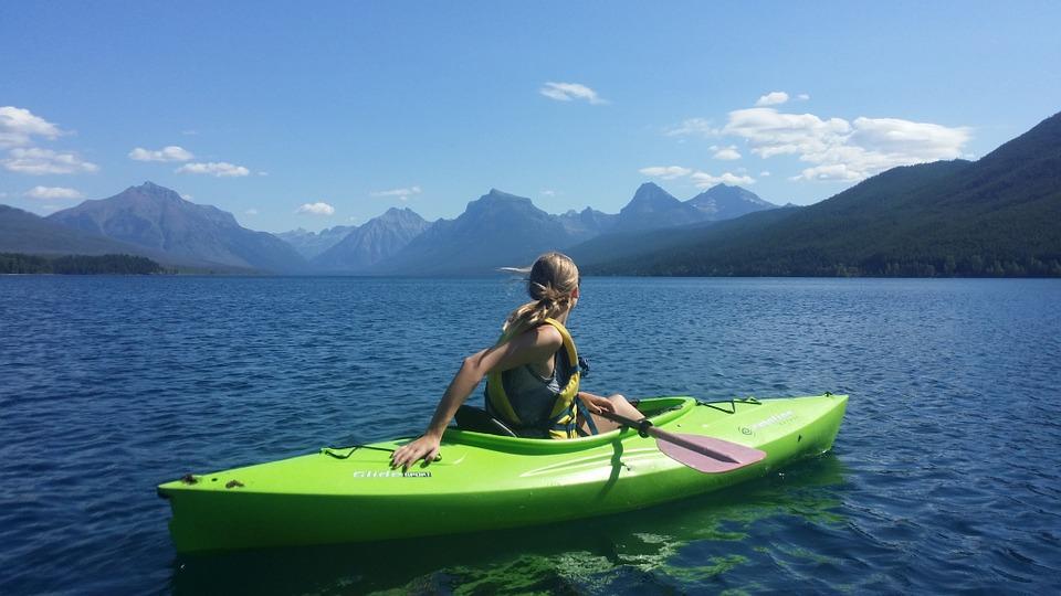 kayaking, girl, leisure