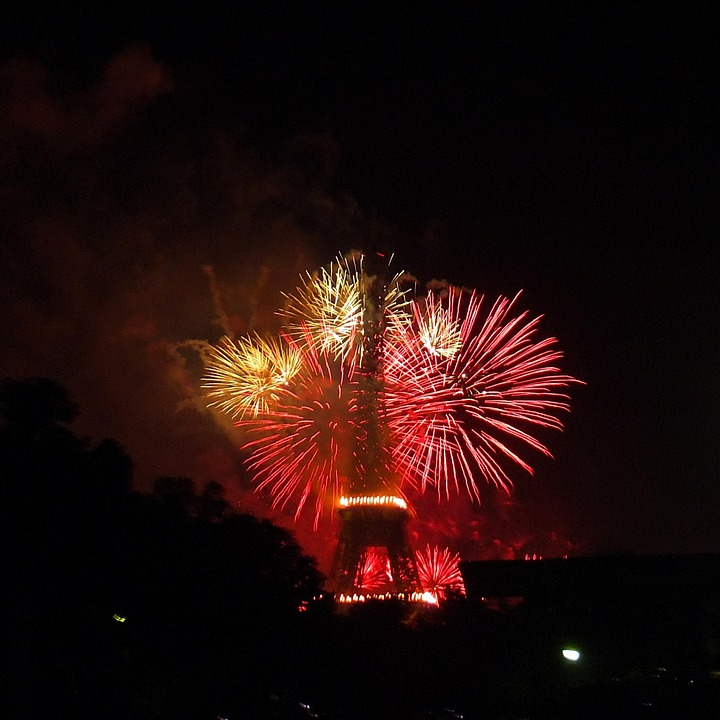 fireworks, eiffel tower, paris