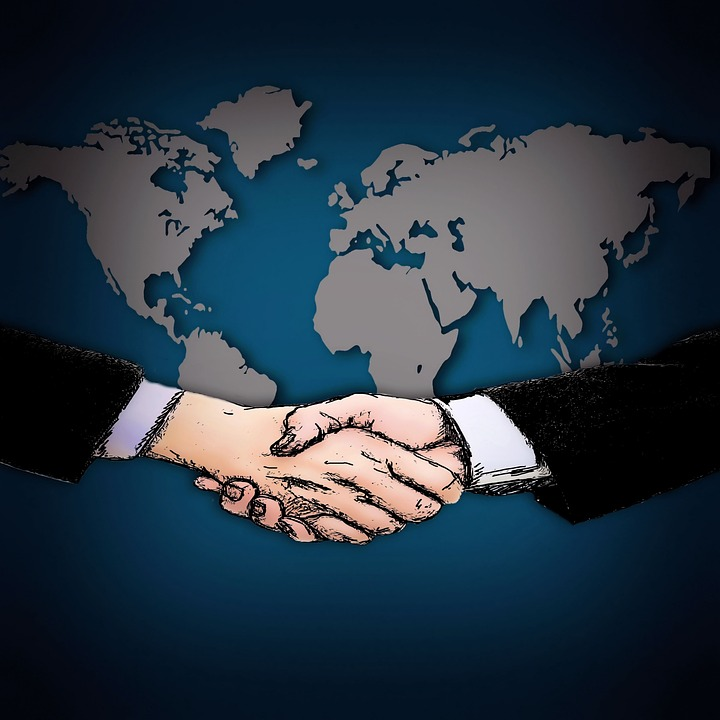shaking hands, map of the world, contract