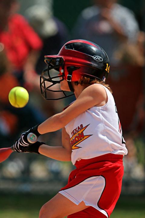 softball, batter, swinging