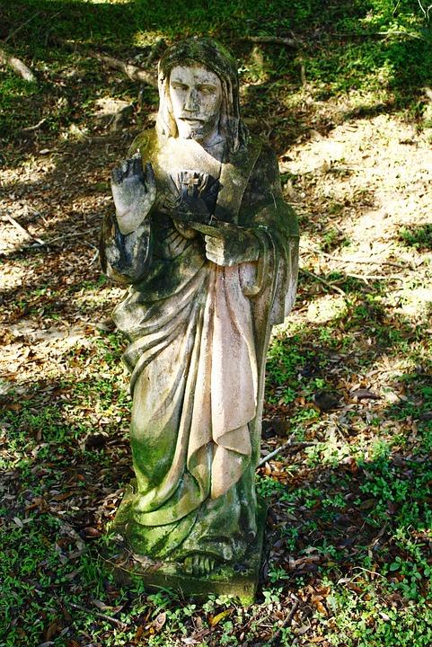 jesus, stone, garden