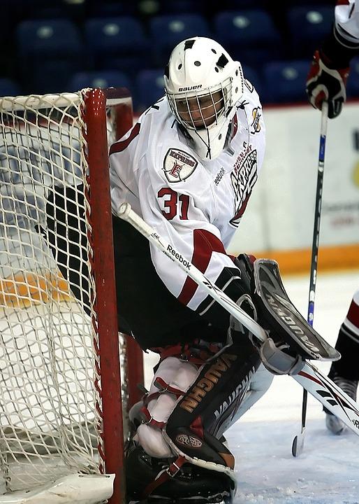 hockey, goalie, net