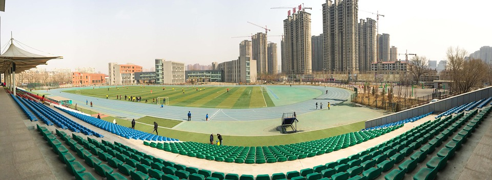 stadium, athletic track, football