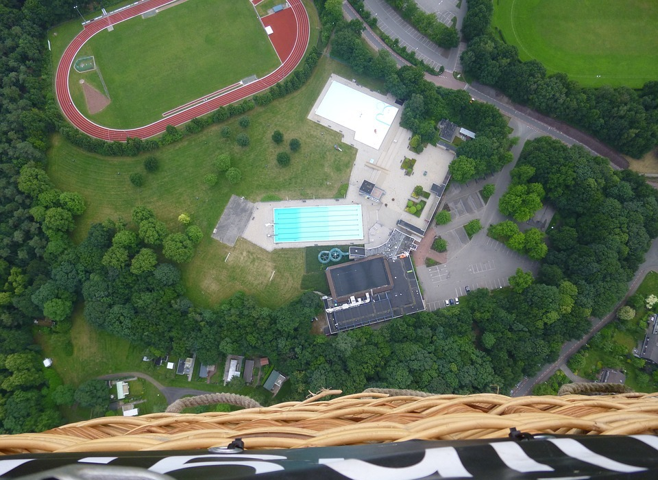 sports, swimming pool, airphoto