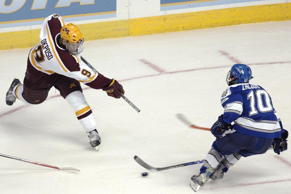 ice hockey, slap shot, players