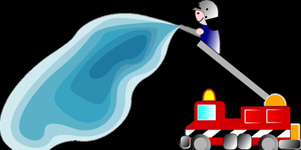 fireman, water, fire