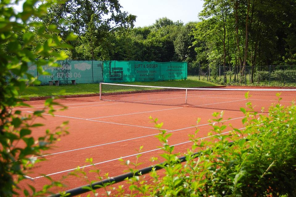 tennis court, tennis, roter sand