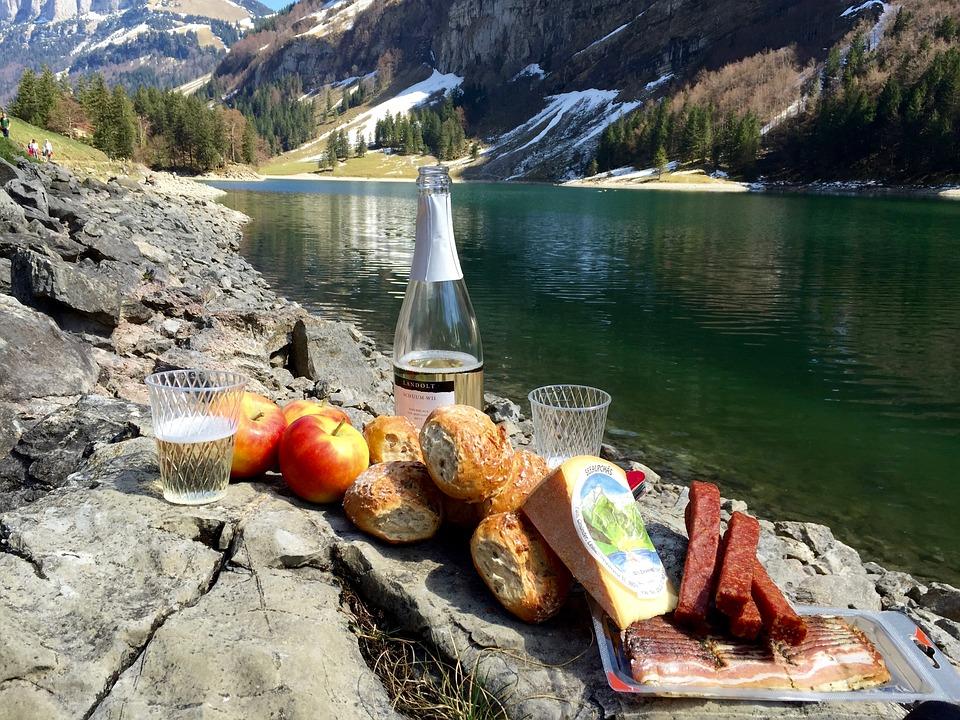 picnic, bergsee, spring