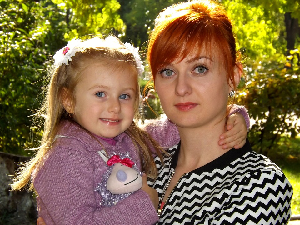 mom, daughter, family