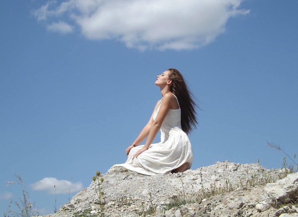 girl, angel, cloud